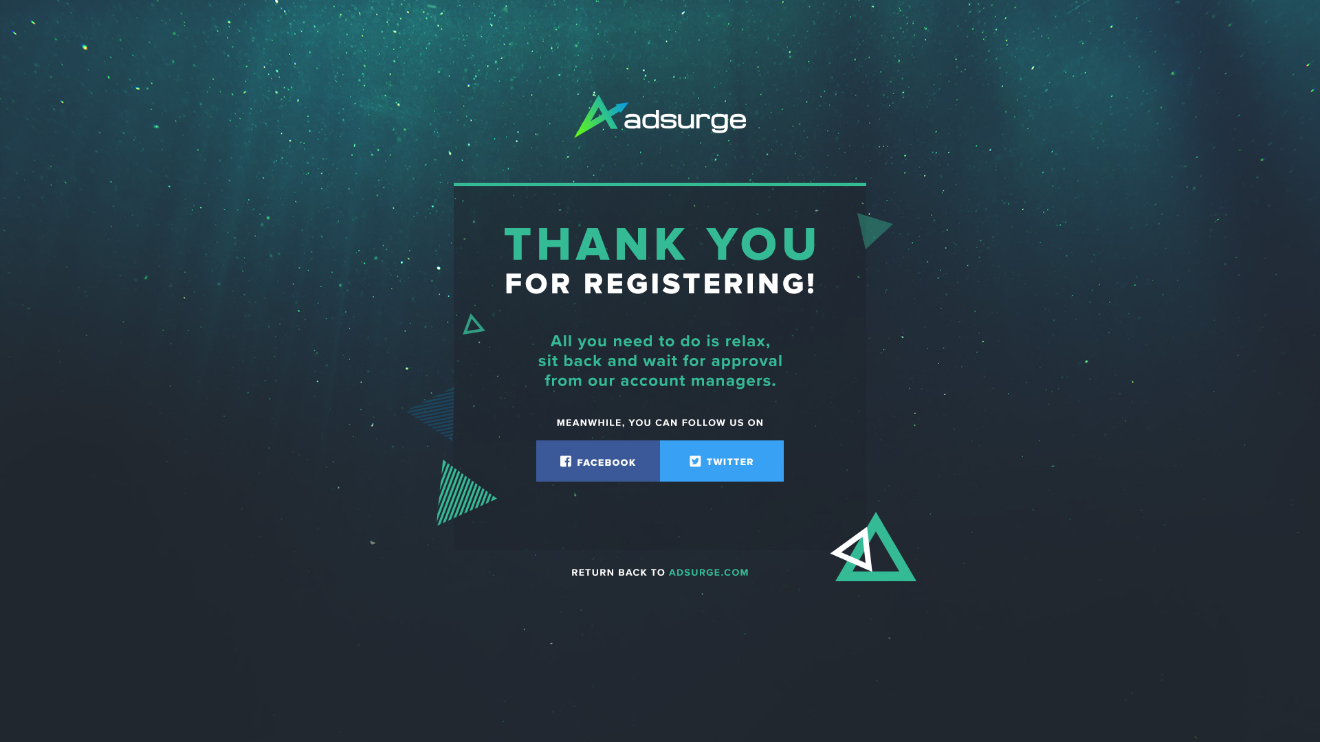 Adsurge Signup - Thank You - Social Media