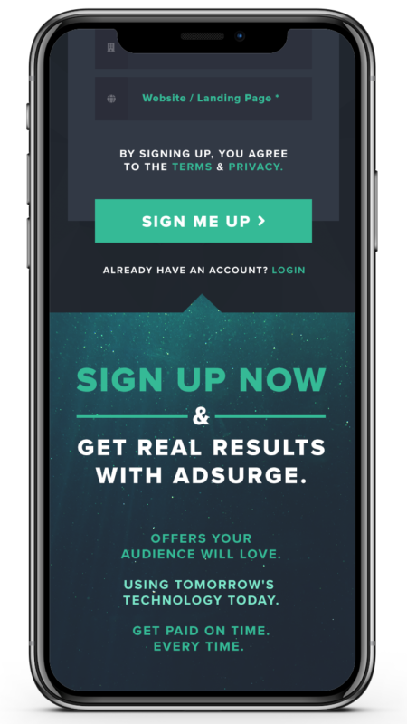 (Mobile) Adsurge Signup - Step 01 Scrolled Down